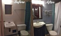 diy bathroom renovation, bathroom ideas, painting, remodeling, This is a Before and After of the bathroom renovation We gutted and painted the room then installed a new toilet sink vanity light fixture faucet toilet paper holder and towel rack and ceramic tile floors