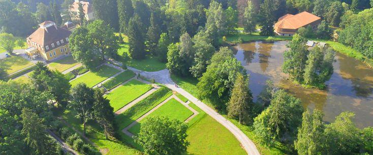 Parcul de pe domeniul Mikes, Zăbala în colțul din stânga sus: Castelul Mikes (sec. XVII-XIX)