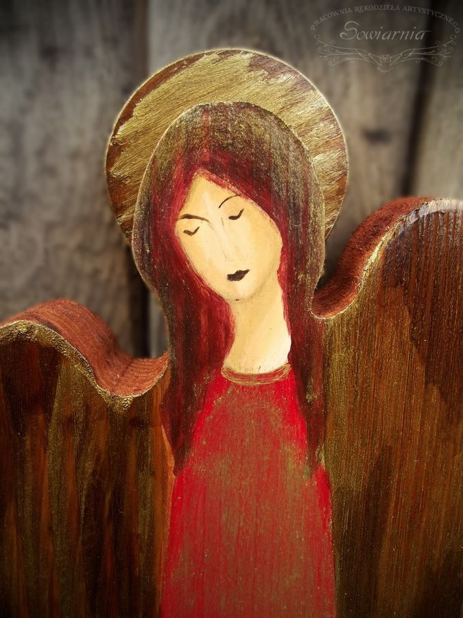 Red wooden angel
