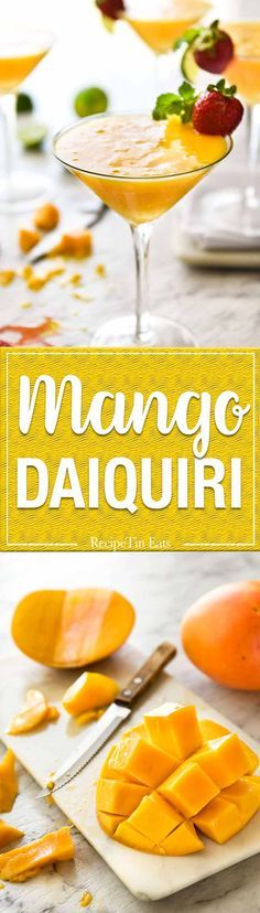 Mango Daiquiri made with fresh juicy mangoes, the king of all cocktails! Make this with or without a blender, frozen or not frozen. www.recipetineats.com
