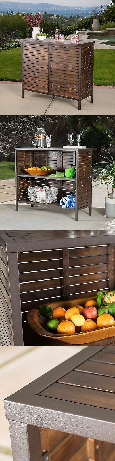 Home Pubs and Bars 115713: Isabel Dark Brown Acacia Wood And Rustic Metal Outdoor Bar Table -> BUY IT NOW ONLY: $219.99 on eBay!