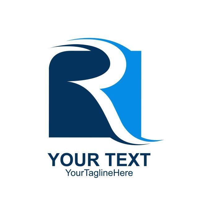 أول حرف ص شعار قوالب مربع أزرق اللون في التصميم Logo Templates Letter R Initial Letters