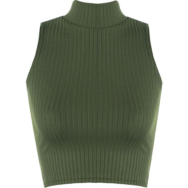 Luann Rib Turtle Neck Crop Top (£11) ❤ liked on Polyvore featuring tops, shirts, crop tops, tank tops, green, sleeveless tops, turtle neck top, ribbed crop top, short shirts and turtleneck shirt