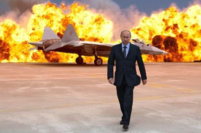 """<b>PUTIN FRAMFÖR EXPLOSION </b>Rysslands agerande på Krim har gett upphov till en mängd så kallade meme (eller försvenskat """"mem""""), alltså företeelser som delas snabbt från person till person via sociala medier eller mejl. Hollywoodska explosioner är ett favoritmotiv, här på flygplats. Putin och stridsflygplan är ett återkommande tema. <br />"""