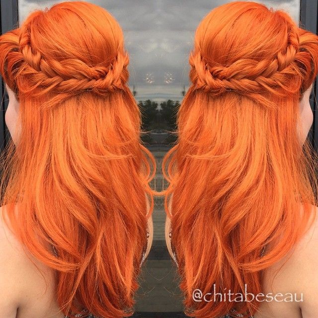 Elegant mermaid hair style by Chita Beseau. Fiery orange hair color Fishtail Braids fb.com/hotbeautymagazine