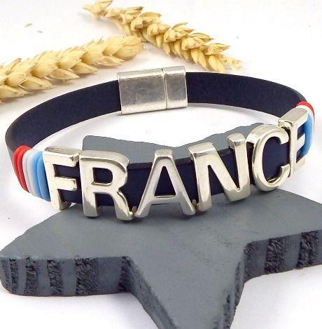 Kit tutoriel bracelet cuir bleu france euro foot 2016 plaqué argent : Kits, tutoriels bijoux par bijoux-giuliana