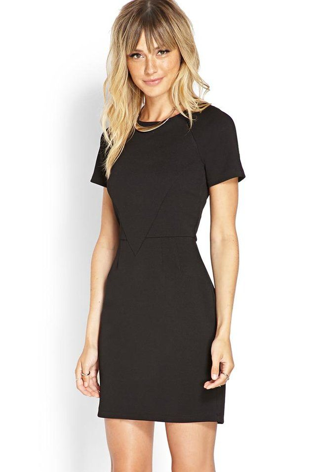 Love 21 - A textured knit sheath dress featuring a paneled bodice and short sleeves. . Exposed bac...