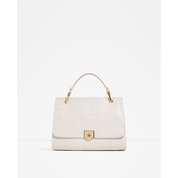 Zara City Bag With Fastening Detail ($60) ❤ liked on Polyvore featuring bags, handbags, white handbags, zara handbags, zara bags, white purse and white bags