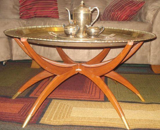 Beautiful KAGAN Mid Century Spider Leg Base Table Round LRG Brass Tray On Teak Legs