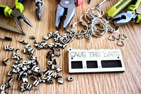 Save The Date Keyring Personalised Handmade Wood Keyrings    Personalised Handmade Wood Keyrings Perfect For Gift    NOTE Alphabet or Number max:   Left: 2 characters  Middle: 2 characters  Right: 4 characters    Product Details:  · Made of plywood covered with clear acrylic sheet  · Length : 7 C...