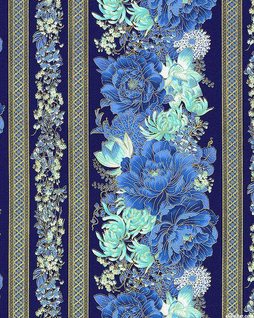 Imperial Garden - Flowers for the Empress Stripe - Blue/Gold Timeless Treasures