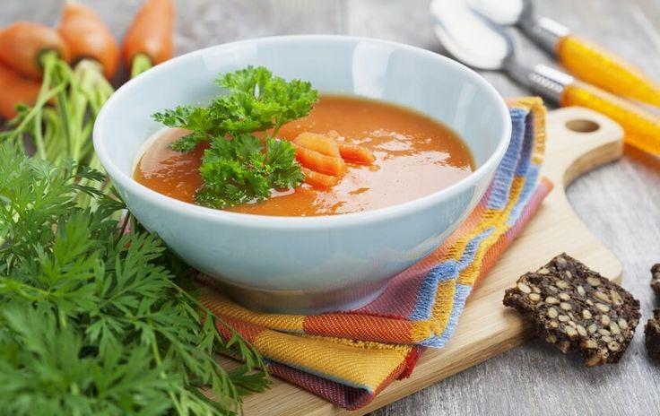 Polévka s mrkví a zázvorem 500 g mrkve 1 cibule 1 PL zázvoru 700 ml kuřecího vývaru 100 ml smetany 3 PL olivového oleje Sůl a pepř postup: Nakrájejte si cibuli a zázvor nastrouhejte na struhadle. Cibulku a zázvor poduste na olivovém oleji po dobu 5-7 minut. Mrkev nařežte na kostky a přidejte ji k …