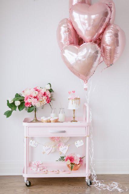Pink Hearts Bridal Shower Dessert Table Inspiration