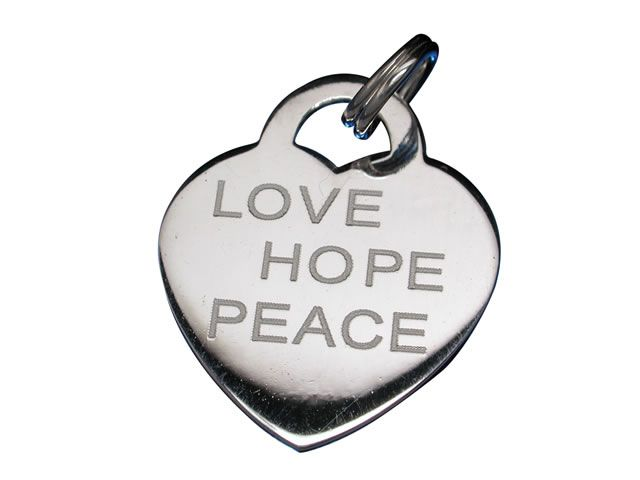 Sterling Silver 18x16mm *love Hope Peace* Heart Charm With Split Ring