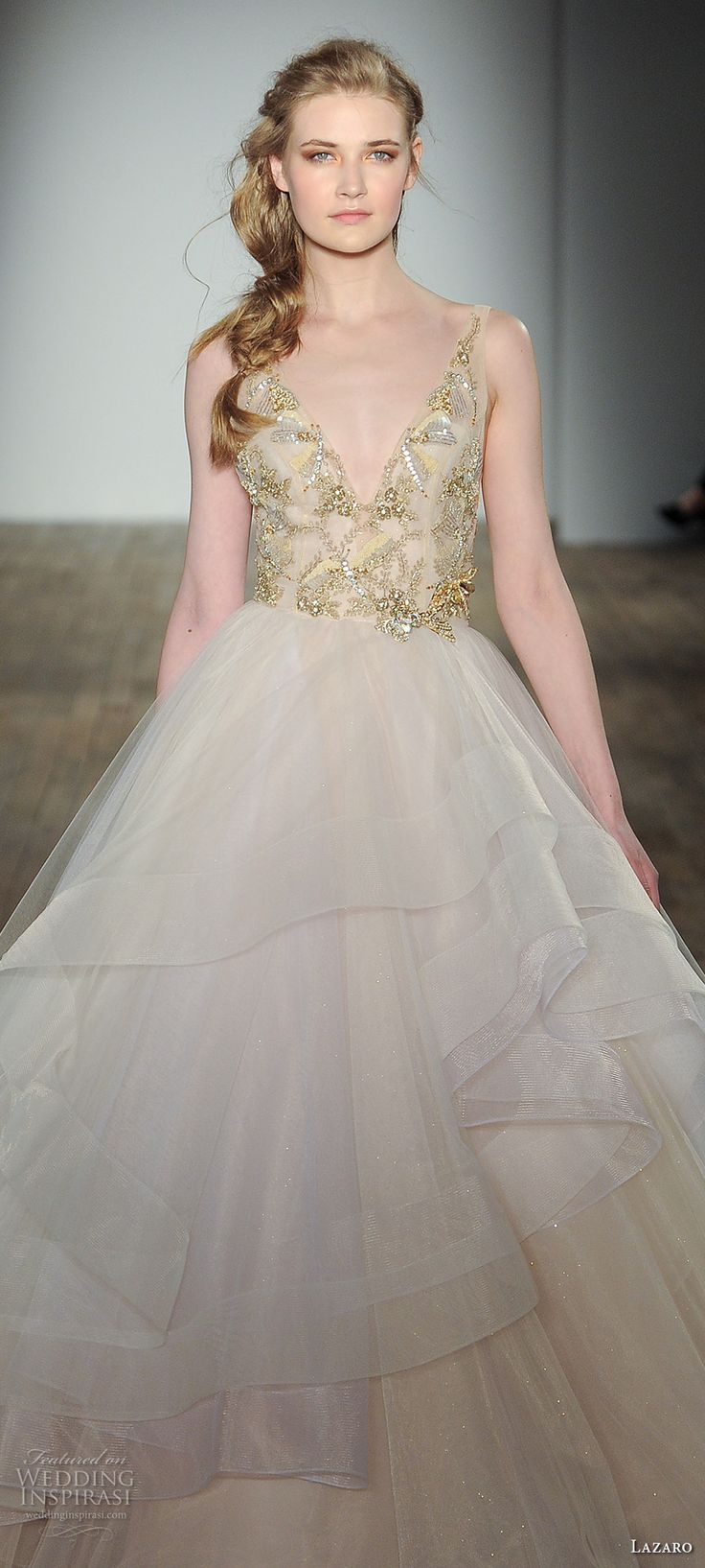 42 best champagne yellow gold wedding gowns images on for Lazaro a line wedding dress