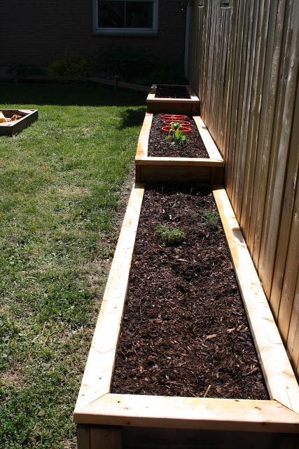Along the fence line. DIY Raised Garden Beds.