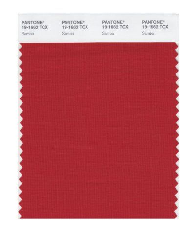 Pantone 19-1662 TCX Smart Color Swatch Card, Samba:   Actual 4x8 inch cotton fabric swatches of individual Pantone Fashion and Home colors. Each dyed cloth piece is folded back on itself to make a 4x4 inch two-ply presentation in a hermetically sealed UV protective envelope. Used by fashion designers and interior decorators to communicate with clients and vendors. The swatch illustrated here is intended to be a close representation of swatch color 19-1662 Samba.