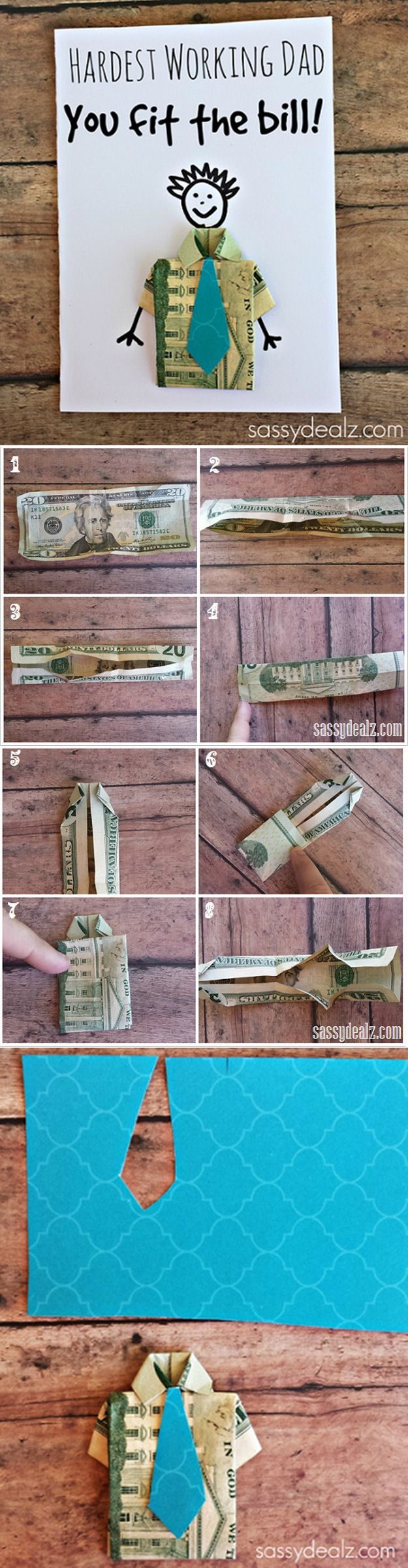 Cute DIY Craft for Father's Day Cards | Dollar Bill Origami T-Shirt Father's Day Card by DIY Ready at http://diyready.com/21-diy-fathers-day-cards/