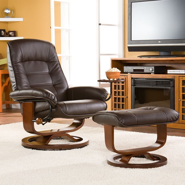 Attractive Solid All Wood Home Recliner Chair Ottoman Leg Rest Comfort Living Room TV  Watch