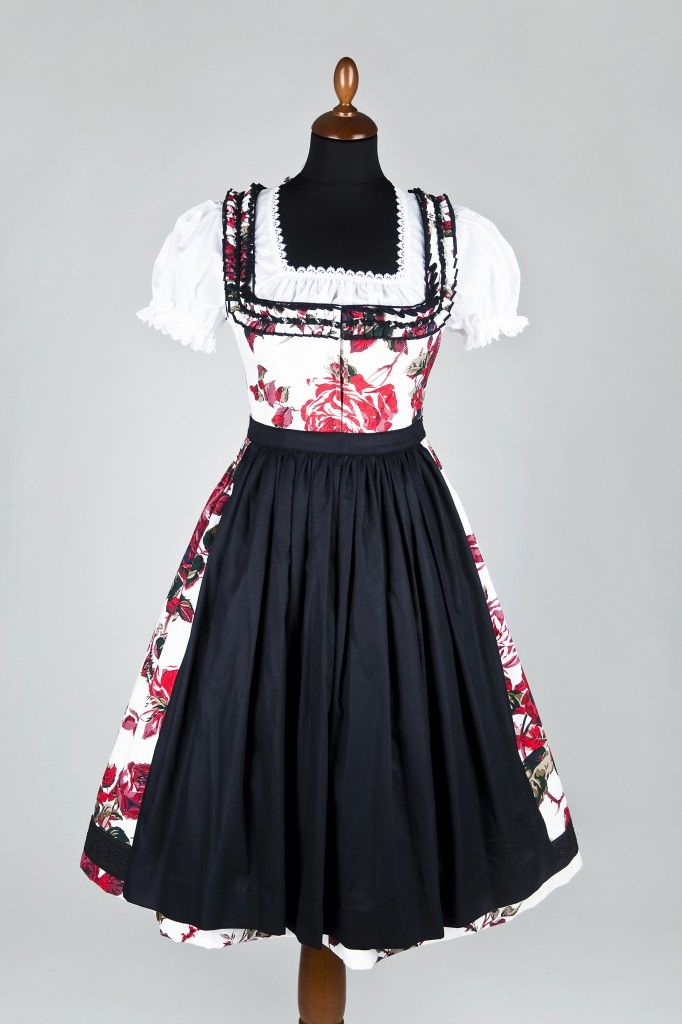 Red, black and white - so chic and gorgeous! #dirndl #German #Austrian #traditional #folk #costume #dress #tracht