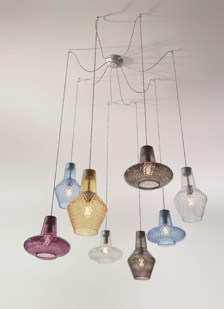 Blown glass pendant lamp ROMEO E GIULIETTA - @demajolight