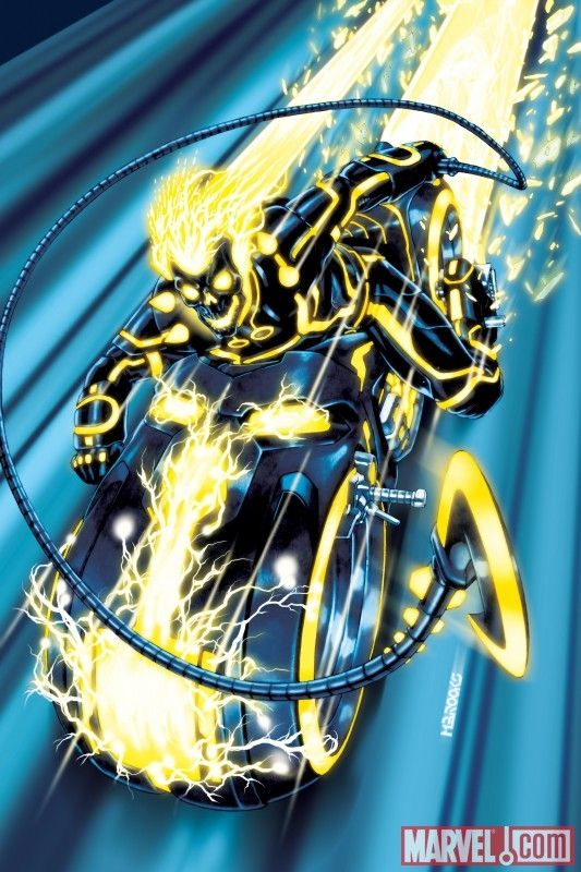 Ghost Rider / Tron variant cover mashup