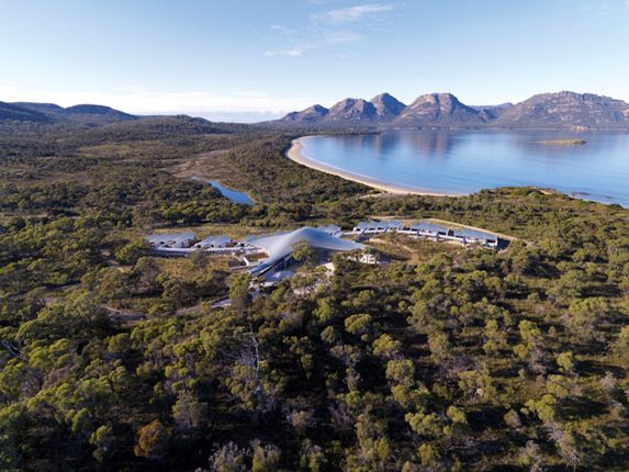 Saffire, Freycinet Peninsula, Jaw-dropping, stingray-shaped Saffire boutique hotel in the Freycinet Peninsula, East Tasmania. To book a holiday to Tasmania, drop in and see us at Gilpin Travel!