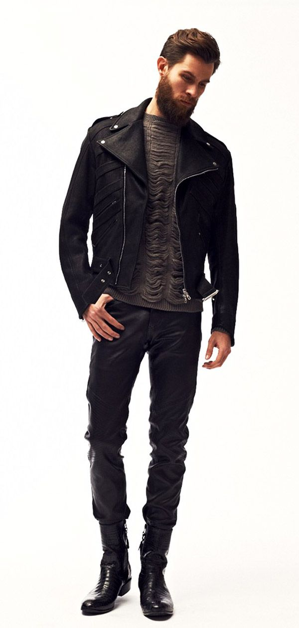 The leather biker jacket is a true menswear classic that will help add an edge to any personal style. You may not be remotely punk or rock in your persona but this silhouette is extremely.