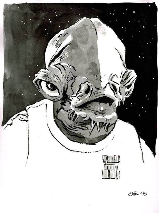 Star Wars - Return of The Jedi - Admiral Ackbar original ink drawing by Mygrimmbrother on Etsy