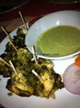 Tasty hariyali chicken tikka in which chicken pieces are marinated in ...