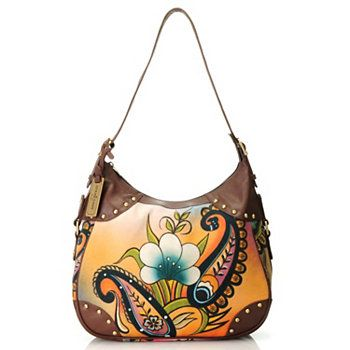 Anuschka Canvas & Leather Studded Medium Hobo Handbag
