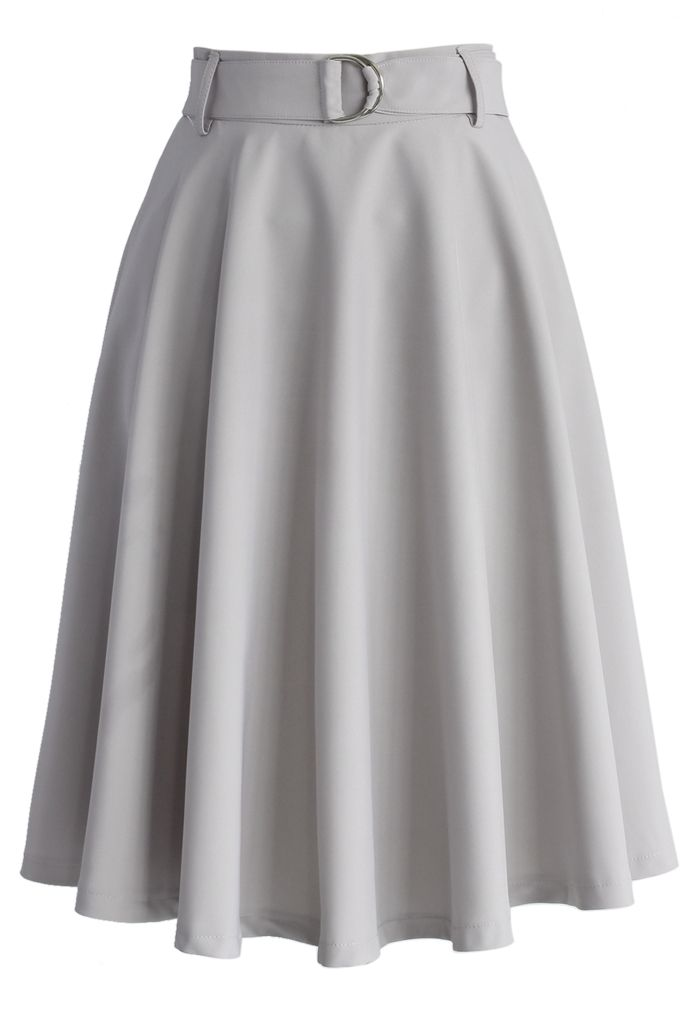 Neutral Grey Belted A-line Skirt - Skirt - Bottoms - Retro, Indie and Unique Fashion