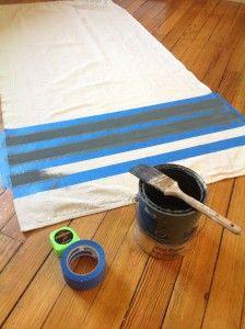 drop cloth curtains or shower curtain