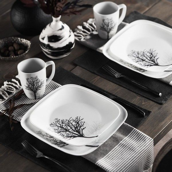 Corelle Square 16-piece Timber Shadows Dinnerware Set (255 BRL) ❤ liked on Polyvore featuring home, kitchen & dining, dinnerware, white, white dinner plates, square dinnerware set, corelle dinner plates, white square bowl and corelle bowl