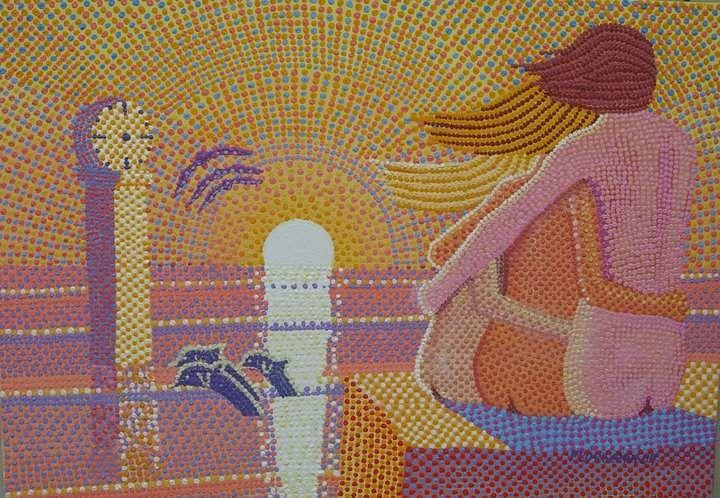 Quadro Giuseppe Floris Serra olio su tela 100x80