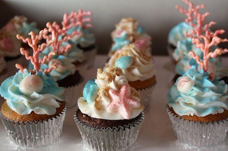 Found it!  I really like these beach themed cupcakes with pretty coral and sea shells