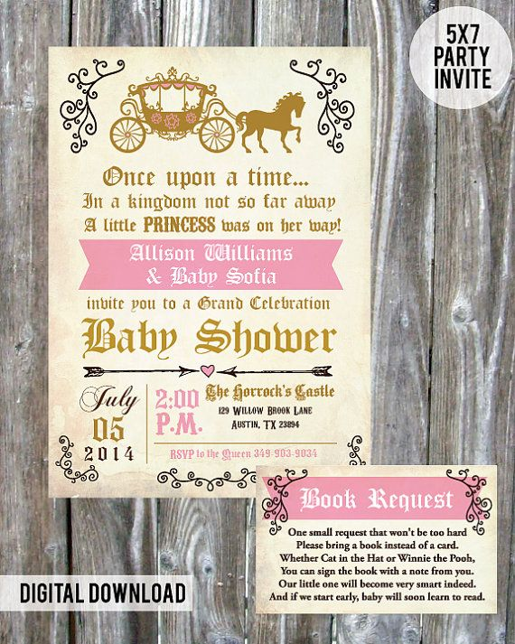 "Once upon a time ""Princess"" Baby Shower Invite - Digital Download"