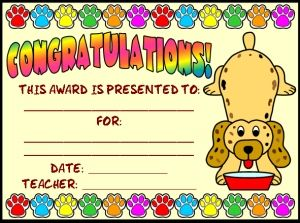 free download download this free dog reading award certificate and matching 5 page