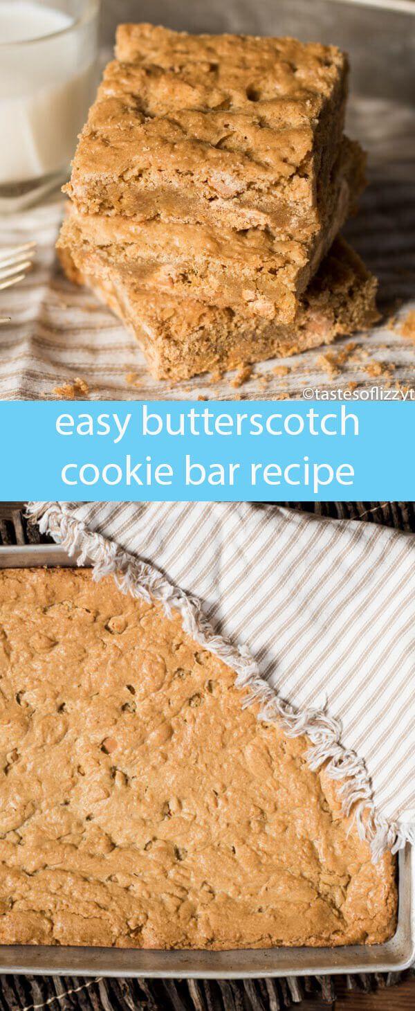 butterscotch cookie bars recipe / chewy butterscotch bars / butterscotch blondies / easy blondies recipe / easy dessert recipe / via @tastesoflizzyt