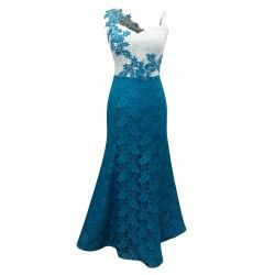 Lace maxi dress with decorative embroidered motif
