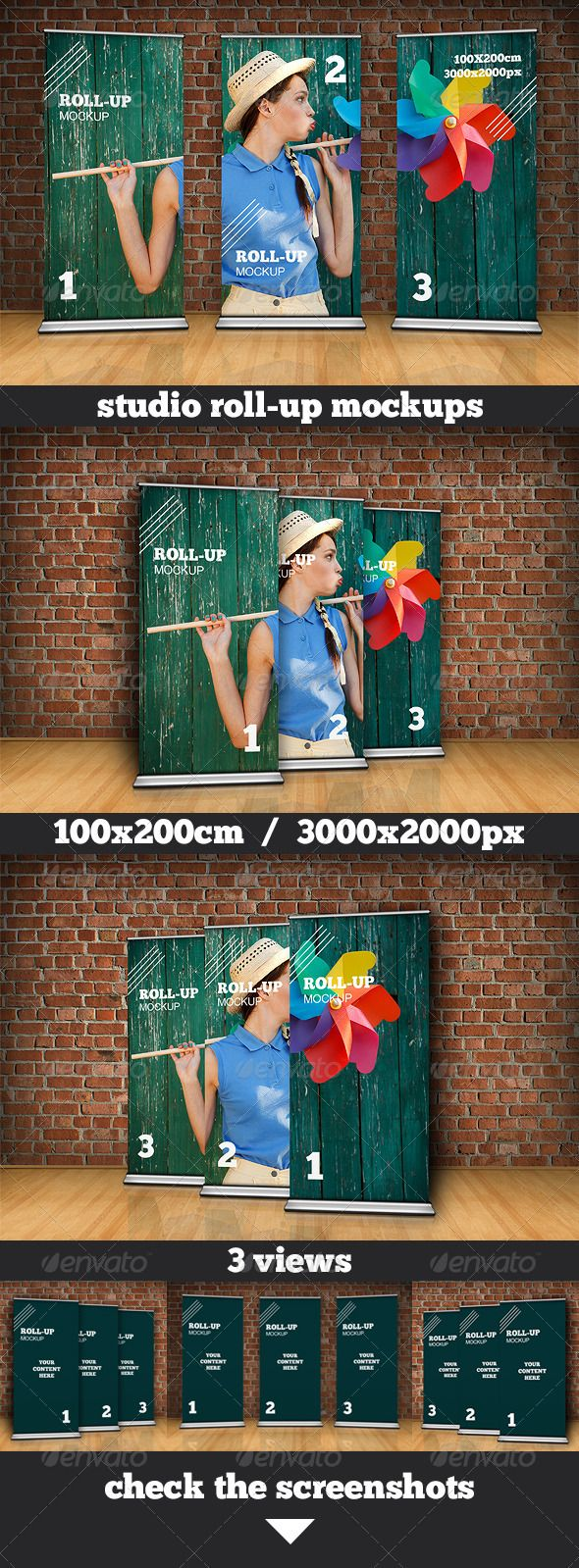 Photo realistic studio roll up/stand mockup to present your work. It's based on Smart Objects, so you can easly insert your art. You can use one roll up project on every rollup or present three different ones.  Easy to use. Instruction included.  3 PSD files, 3 views. Resolution – 3000×2000px. Dimensions of roll up – 100×200cm.