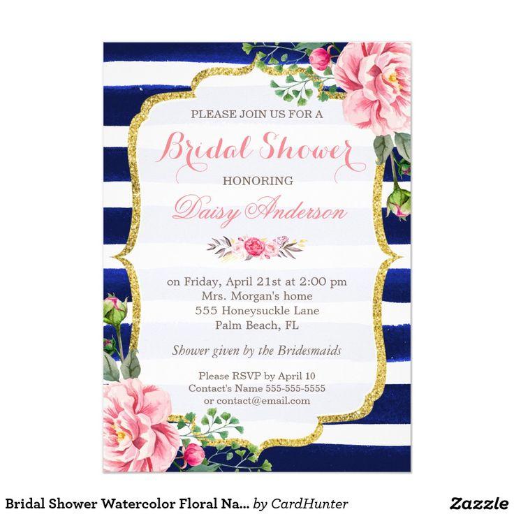 Bridal Shower Watercolor Fl Navy Blue Stripes
