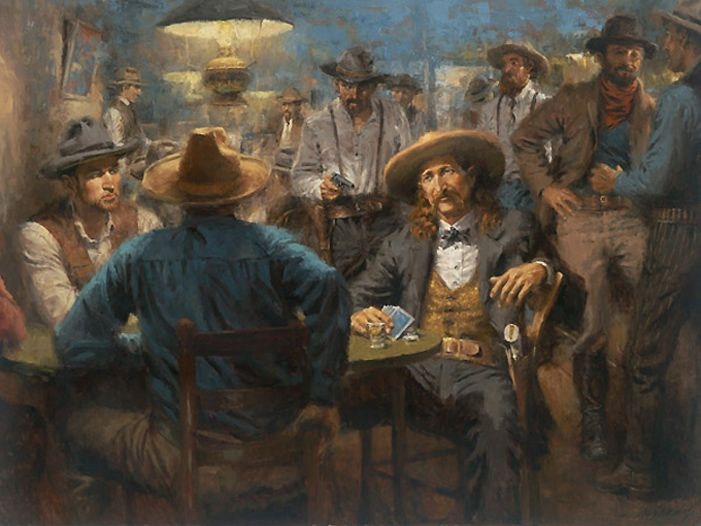 Wild Bill's Last Deal!  This is the newest release by Andy Thomas.  His artwork captures the very essence of historical characters we all would have loved to meet.   This one is of Wild Bill Hickock's last poker game in Deadwood.  If you are a western history buff, this would be perfect for your collection.  Click on the picture to see more!