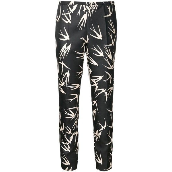 Black and white trousers from Rochas featuring a high rise, a straight leg, a cropped length and a swallow flock print.