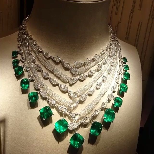 @bola3jewelry Emerald and Diamonds Necklace by Boghossianjewels.