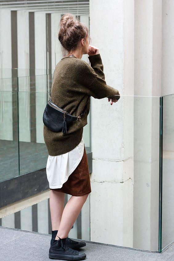 Anacomito Black Leather Belt Bag  Fanny Pack, Bumbag, Waist Bag