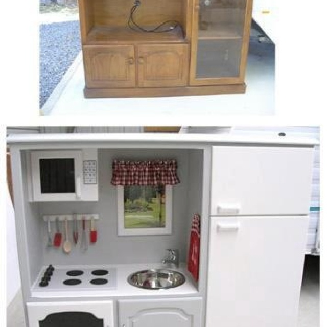 Re Use Old Entertainment Center To Make A Little Girls Kitchen
