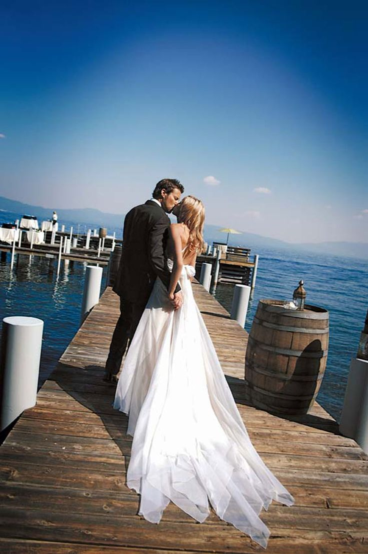 Pretty lakeside wedding in Lake Tahoe! Whereever my wedding is (hopefully a romantic venue or somewhere near the water) I want a picture capturing our theme.