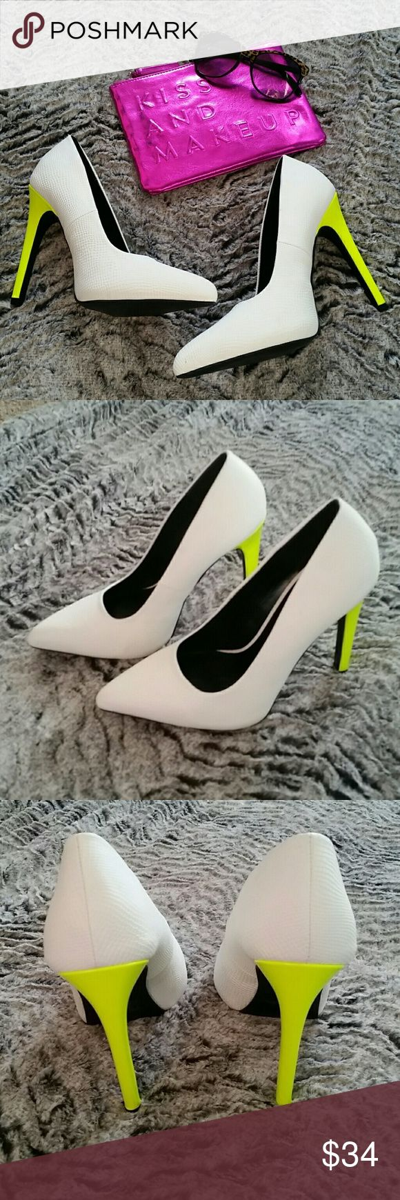 HP Wardrobe Refresh White and neon pumps Offers Welcome! These shoes are H.O.T. HOT!!  Pointy toe with a neon yellow heel.  Crocodile skin design on the white. These run about a half size small.  Heel height is 4.5 inches.  NIB Shoes Heels