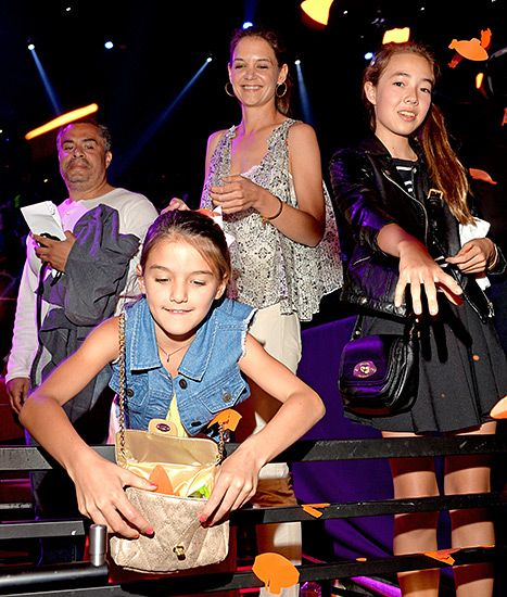 Suri Cruise and Katie Holmes in the audience during Nickelodeon's 28th Annual Kids' Choice Awards held at The Forum on March 28, 2015.